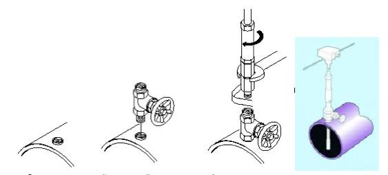 Схема монтажа расходомера